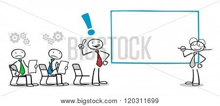 Business man giving solution in a training seminar