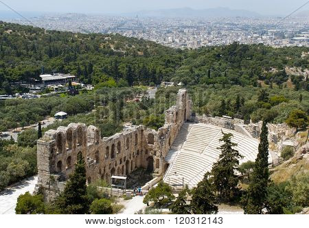 The Odeum theater at the bottom of the sacred rock of the Acropolis in Athens on South side was constructed in the 2nd century AD (160-174)