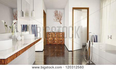 Modern elegant bathroom with marble tiles and bathtub (3D Rendering)