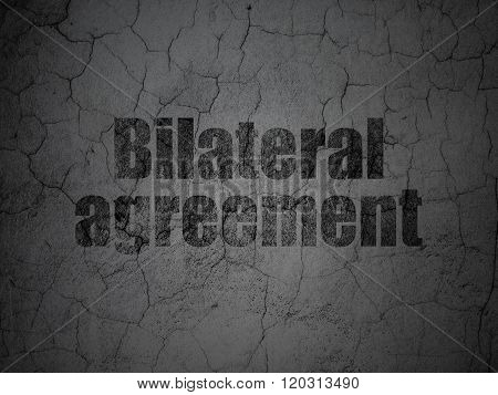 Insurance concept: Bilateral Agreement on grunge wall background