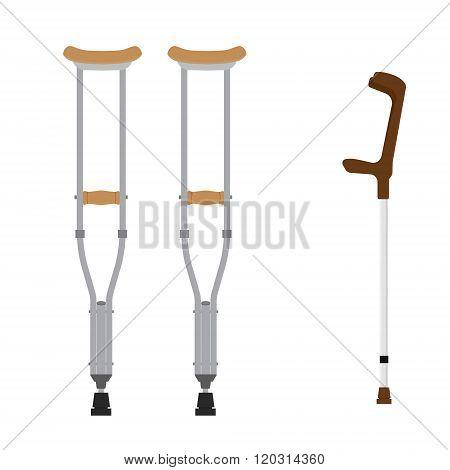 Crutches Icon Set