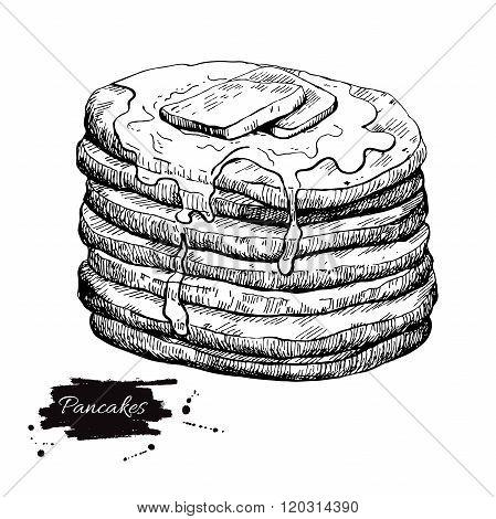 Vector Vintage Pancake Drawing. Hand Drawn Monochrome Food Illus