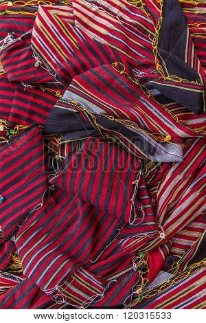 Traditional Turkish Karadeniz scarves in traditional textile  simple in  bazaar