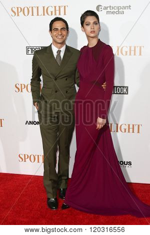NEW YORK-OCT 27: Designer Zac Posen and guest attend the 'Spotlight' New York premiere at Ziegfeld Theatre on October 27, 2015 in New York City.