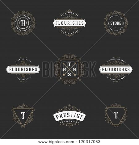 Royal Logos Design Templates Set. Flourish calligraphic elegant ornament lines.