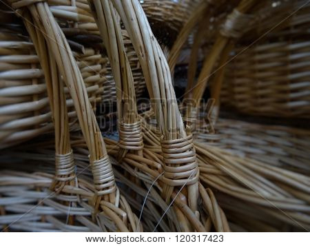 Folk handicraft. Wicker baskets detailed