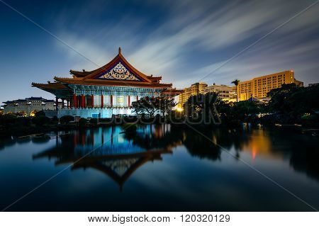 The National Concert Hall And A Pond At Night, At Taiwan Democracy Memorial Park, In Taipei, Taiwan.