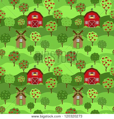Seamless, Tileable Farm or Orchard Background Pattern