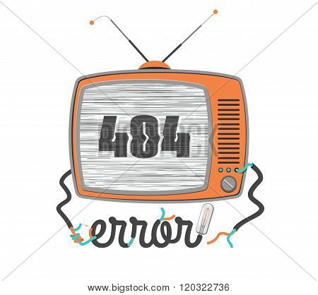 404 Error, Old Funny Tv With Glitch Screen, Vector Illustration
