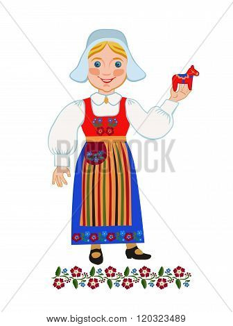 Swedish woman in a suit holding a province Dalarna souvenir folk art dalecarlian horse