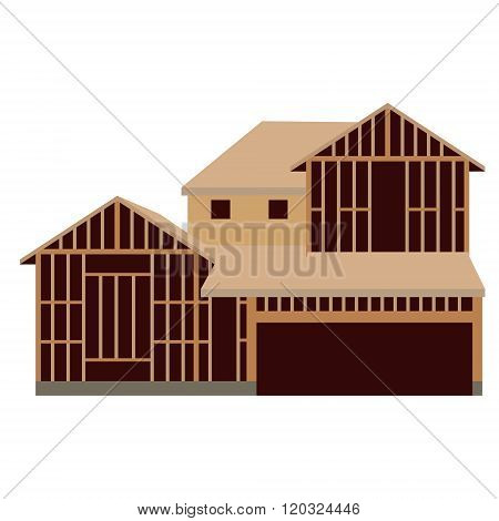 Vector illustration wooden unfinished house constuction. House icon poster