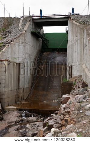 MURMANSK, Russia - july 08, 2012, Emergency spillway Verhneteriberskoy hydroelectric, Murmansk