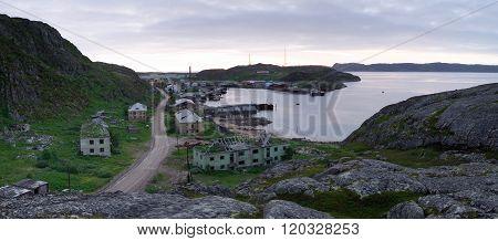 View of the village Lodeynoe Murmansk region