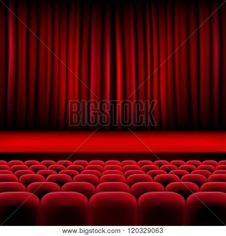 Theater Auditorium With Rows Of Seats And Stage With Curtain