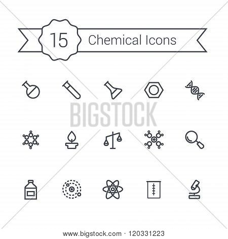 Science line icon set. Chemical icons.