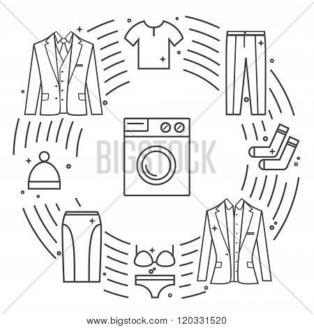 Dry-cleaning and laundry vector objects. Unique vector concept with different clothes elements: wash
