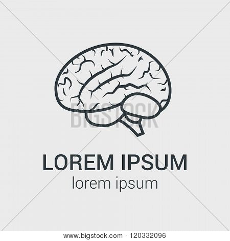 Vector outline illustration of human brain on gray background. Single logo with graphic illustration