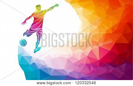Creative Silhouette Of Soccer Player. Football Player Kicks The Ball In Trendy Abstract Colorful Pol