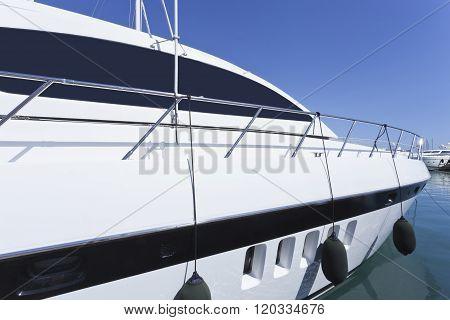 Luxury super yacht in sea marina