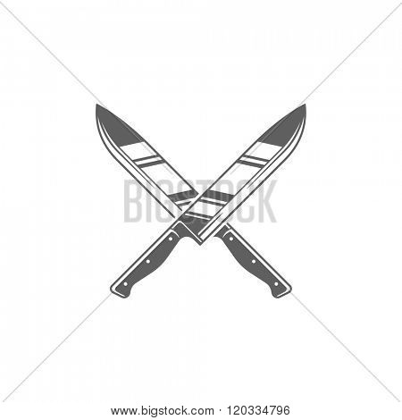 Two Knifes Restaurant Vector Illustration. Knifes Silhouette Isolated On White Background. Vector object for Labels, Badges, Logos Design. Knife Logo, Knife Symbol, Vintage Logo, Knifes Icon.
