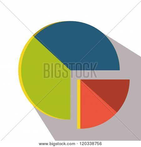 Chart icon flat vector isolated graph long shadow