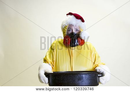Kitchen Disaster, Hazmat Suit And Santa Hat