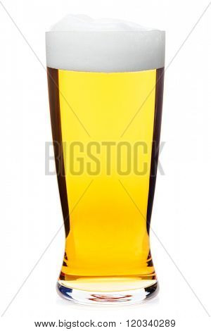 Full pilsner glass of pale lager of pils beer isolated on white background
