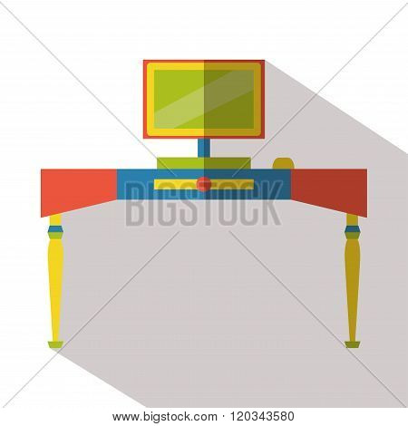 Computer desk icon vector flat isolated long shadow