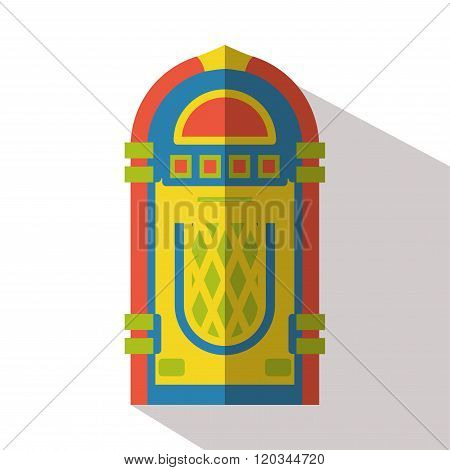 Jukebox icon isolated vector flat retro front view