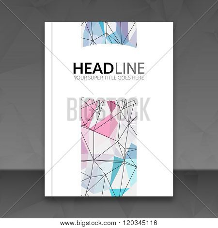 Cover report colorful triangle geometric lines prospectus flyer design background, cover flyer templ