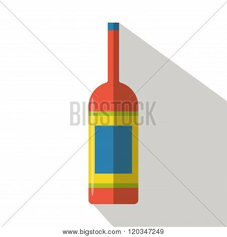 Wine bottle icon vector flat isolated cartoon