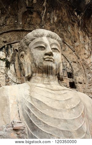 Longmen Caves in Luoyang. Statue of Buddha.