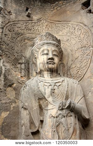 Longmen Caves in Luoyang. Statue of Bodhisattva