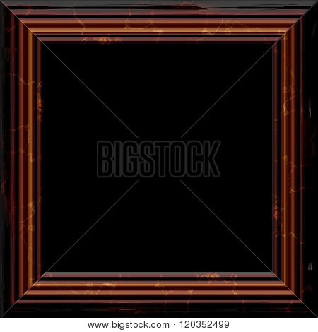 Retro Brown Wooden Frame With Golden Patina