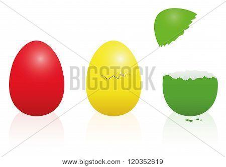Easter Eggs Traffic Light Red Yellow Green