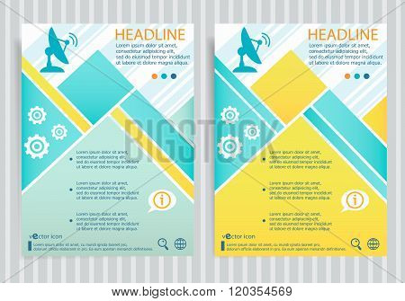Satellite Icon. Antenna Transmission Symbo On Vector Brochure Flyer Design Layout Template.