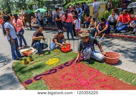 Group Make Holy Week Carpet, Antigua, Guatemala