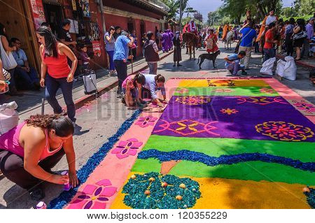 Decorating Colorful Holy Week Carpet, Antigua, Guatemala