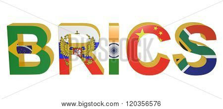 BRICS concept with flags isolated on white background