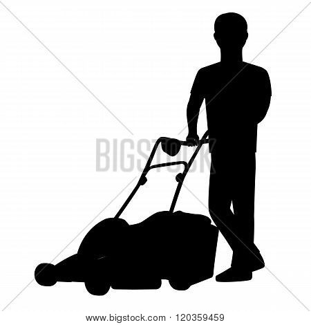 Silhouette Of A Man With Lawn Mower