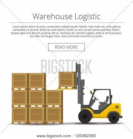 Warehouse logistic. forklift picks up a box. background flat illustration.