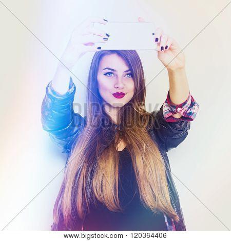 Modern Millennial Teenage Girl Taking A Selfie