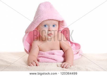 Adorable Baby Girl Under A Pink Towel
