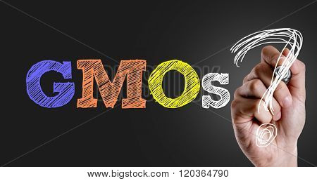 Hand writing the text: GMOs?