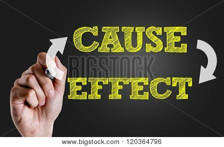Hand writing the text: Cause Effect