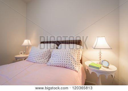 Children's girl's bright pink bedroom. Interior design.