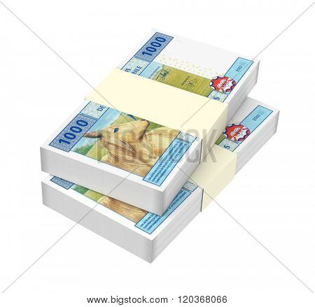 Central African CFA francs isolated on white background. Computer generated 3D photo rendering.