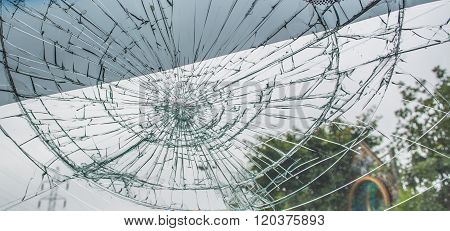 Broken Car Windshield.