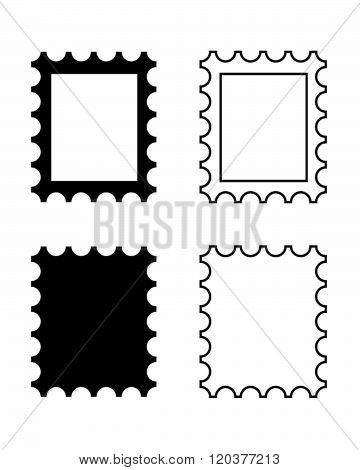Vector Postage Stamp Icon Set in Black and White
