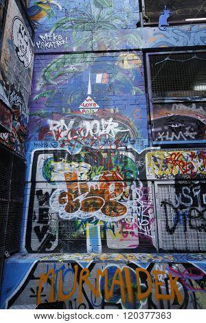 Graffiti art by artist Mike Makatron at Hosier lane in Melbourne
